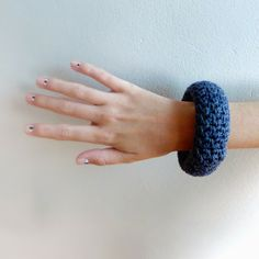 pigtails - bangle covered in linen stitch by 14 year old