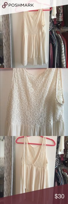 White Open-back Dress Off-white/white dress, open back, size medium Forever 21 Dresses Mini