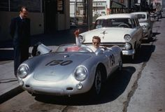 """maudelynn: """"One this day in History; the last ride of James Dean Sept 30 1955 Top Photo; """"James Dean and his mechanic, Rolf Weutherich, posing inside the iconic 1955 Porsche 550 Spyder, nicknamed """"The Little Bastard,"""" shortly before the start of. James Dean Car, James Dean Death, James Dean Photos, Porsche 550 Spyder, Porsche Cars, Hot Rods, Automobile, Alec Guinness, Jimmy Dean"""