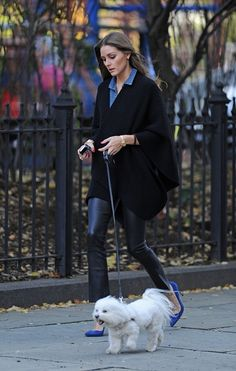 Ms. Olivia Palermo, Navy blues shoes, black leather pants, black top, and chambray. Style !