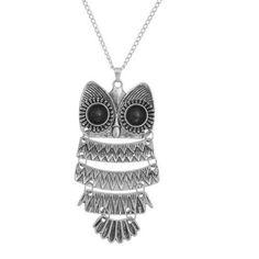 5PC Fashion Jewelry Retro Silver Owl Wire Hook Dangle  Necklace