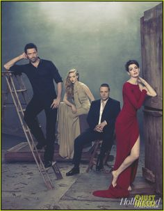Les Mis (2012) | From the photo shoot for the cover of The Hollywood Reporter, Les Miserables stars: Hugh Jackman (Valjean), Amanda Seyfried (Cosette), Russell Crowe (Javert) and Anne Hathaway (Fantine).