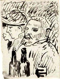 Sketch of Van Gogh, Emile Bernard, Winter, 1886