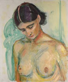 Edvard Munch (Norwegian, 1863-1944), Halvakt med senket hode [Nude with bowed head], 1925-30. Oil on board, 55 x 45.6 cm.