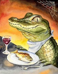 Fishing Alligator Watercolor 8X10 kids room decor Art Print by Barry Singer on Etsy, $18.00