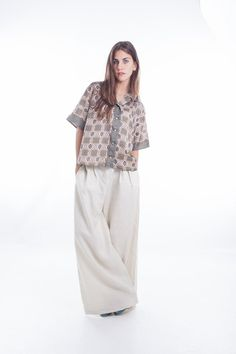 love the color and the bagginess <3 just my style  LINEN PANTS Custom made High Waisted Baggy Trousers Japanese Samurai style in Oatmeal Ecru