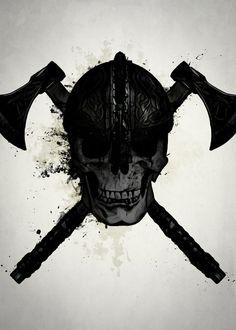 efe6b29f528 Displate Poster Viking Skull viking  skull  warrior  spatter  ink   illustration