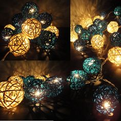 20 Mixed Sky Lantern Tone Handmade Rattan Balls by marwincraft. $13.47 USD, via Etsy.