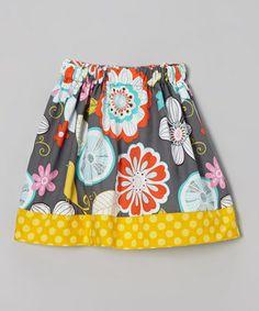Another great find on #zulily! Gold & Gray Floral Bird Skirt - Infant, Toddler & Girls by Waistin' Away #zulilyfinds