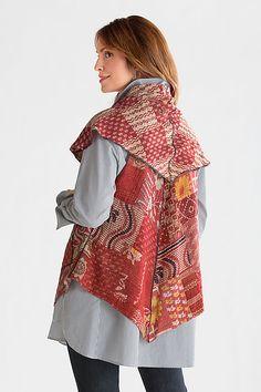 Patchwork Circular Short Vest by Mieko Mintz: Cotton Vest available at www.artfulhome.com