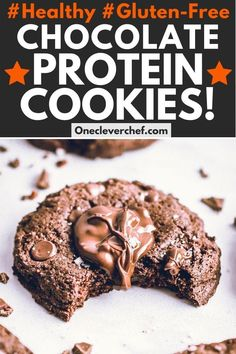 These healthy double chocolate protein cookies are made using whey protein isolate and almond flour. They are very easy to make, chewy & soft! Healthy Protein, Protein Foods, Whey Protein, Protein Recipes, Healthy Sweets, Healthy Baking, Keto Recipes, Healthy Recipes, Protein Cookies