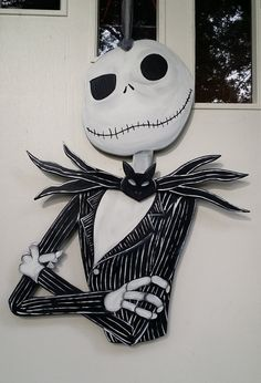 Jack Skellington door hang with 3D bow tie by DecadentDoorsbyMandy
