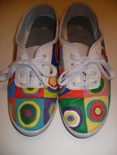 Shoes Melissa made for me:  Hand painted Kandinsky inspired shoes  Materials- acrylic paint, paint sealer