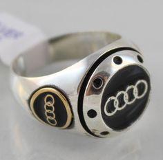 925 Sterling Silver Turkish Handmade Audi Symbol Black Enamel Men's Fine Ring #Handmade #Statement