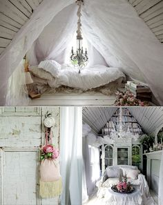 Use the unique aspects of your environment to your best advantage.  Shabby Chic is relaxed and elegant.