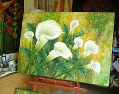 Paintings By Jude Maceren: My New Painting White Cala Lilies