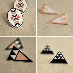 Ditty Drops vintage handmade geometric earrings