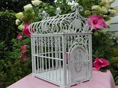 Small Antiqued White Dog Cage - 10-15 Pound Teacup Dog $219