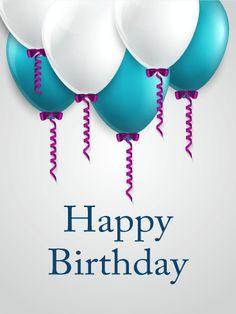 Blue White Happy Birthday Balloon Card