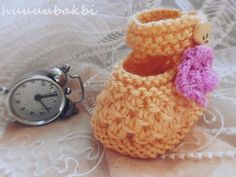 knit baby slippers
