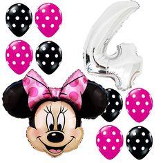 4th Birthday Party Supplies Minnie Mouse Anagram Foil Balloons Bouquet Polka dot #Anagram #BirthdayChild