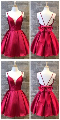 Cute Red Double Straps Satin Homecoming Dress with Bow Back,Simple Red Short Prom Dress - Source by SugarFluffyTutu - Short Red Prom Dresses, Simple Homecoming Dresses, Dama Dresses, Open Back Prom Dresses, Cute Prom Dresses, Quince Dresses, Evening Dresses For Weddings, Formal Evening Dresses, Short Prom