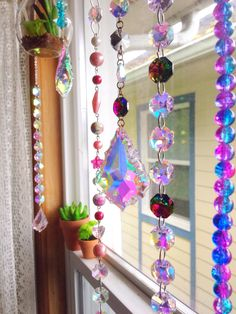 Set of 10 custom AB crystal sun catcher window hangings/you choose colors/chandelier prisms/suncatcher/beads/boho home decor/gypsy/bohemian by AbbiesAnchor on Etsy Suncatchers, Diy Interior, Diy Wind Chimes, Hanging Crystals, Beaded Curtains, Window Hanging, Mobiles, Bead Art, Boho Decor