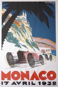 Vintage Racing Poster Print 1931 Monaco Grand Prix 11x17 inches