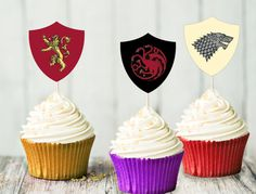 Game of Thrones Cupcake Toppers House Banners by AlohomoraPaperCo