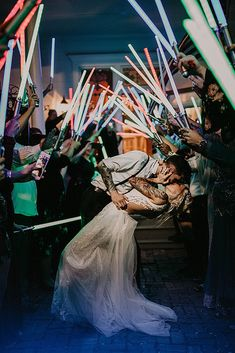 If you are interested in planning a Star Wars wedding, you can read all about it right here. If you're in the Star Wars camp, you're in girly-girl luck – Princess Leia wears some stunning dresses, . Wedding Send Off, Wedding Exits, Geek Wedding, Wedding Fans, Wedding Themes, Dream Wedding, Wedding Ideas, Wedding Details, Galaxy Wedding