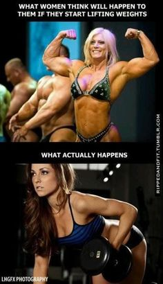 Most ladies avoid proper workout, because they fear to look like the upper picture – which is impossible without steroids. Thereby not even achieving the lower one.