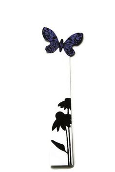 Items similar to Butterfly Bookmark - Flower Silhouette - Hand Painted - Handmade - Purple and black - Gift for a Gardener - Gift - Stocking Stuffer on Etsy Cool Things To Make, Awesome Things, Flower Silhouette, Bristol Board, Purple Butterfly, Garden Gifts, Purple And Black, Garden Art, Stocking Stuffers