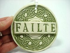 Irish Failte Tile Irish Welcome Celtic Knot by MagicMoonPottery, $18.00