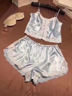 A sliver of silver Sexy Pajamas, Cute Pajamas, Pyjamas, Lounge Outfit, Lounge Wear, Lingerie Sleepwear, Nightwear, Pijama Satin, Women Lingerie
