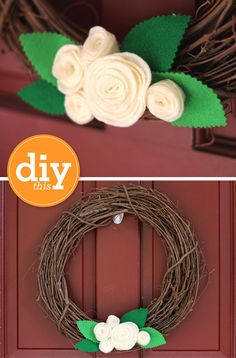 Grapevine felt rose wreath...I wonder if I can somehow attach the flowers and leaves to a stick or two to secure in the wreath, but then can be easily removed and replaced with other things, based on the season?