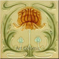 Art Nouveau Reproduction Decorative Ceramic Tile 6 X 6 inches #00556