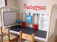 This looks like a crib turned into a activity desk! what a great idea!
