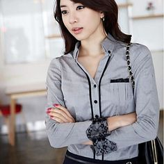 New Stand Collar Lace Patchwork Slim OL Shirt Tops