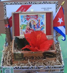 Cuban Theme Centerpiece  #Cuban #HavanaTheme #Cigar Box Event Design/Coordination and Party Printables:Martinez