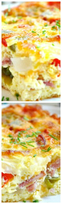 Baked Western Omelet ~ An easy, hands-off and nutritious way to feed a group for breakfast, brunch, lunch or dinner... Loaded with veggies and high in protein, this is a dish that will keep you lean, strong, and 100% satisfied!