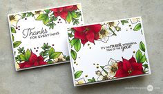 A beautiful card by Jennifer Mcguire using WPlus9 Christmas Rose Stamp Set