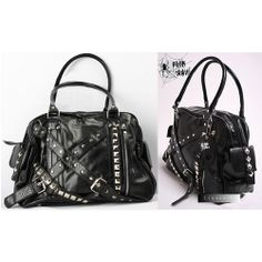 Black Studded Steam Punk Steampunk Rock Messenger Bag Handbag Men Women SKU-11408001