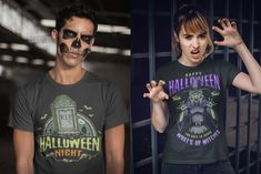 Colorful and monochrome Halloween t-shirt designs are available to download on www.dgimstudio.com. 100% vector + editable texts. Designs with witches, zombies, vampires, pumpkins, etc. #halloween #halloweendesign #tshirtdesign #appareldesign #costume #halloweencostume #spooky