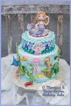 {A Mermaid Topper and Under-the-Sea Birthday Cake}