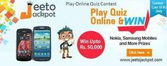 Play at Jeeto Jackpot Online quiz and get a chance to win great gifts Surrey. so sign up immediately at Jeeto Jackpot and win a lot of gifts. for more details click here:-http://www.jeetojackpot.com