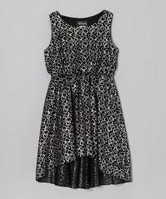 Black & Silver Heart Hi-Low Dress - Girls by Btween #zulily #zulilyfinds