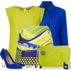 A fashion look from March 2014 featuring yellow t shirt, cropped jacket and blue pumps. Browse and shop related looks. Classy Outfits, Chic Outfits, Trendy Outfits, Office Outfits, Colour Combinations Fashion, Color Combinations For Clothes, Corporate Wear, Women Church Suits, Floral Pants