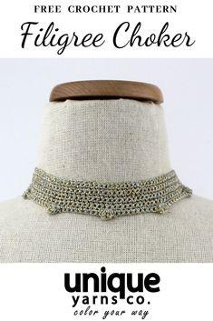 Super easy crochet pattern for this lovely shiny choker! Crochet Jewelry Patterns, Easy Crochet Patterns, Crochet Designs, Crochet Jewellery, Macrame Jewelry, Handmade Jewellery, Jewlery, Crochet Home, Free Crochet