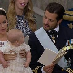 Princess Sofia of Sweden with Prince Alexander and Prince Carl Philip of Sweden. Prince Alexander's christening. September 9 2016