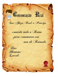 CONVITES ANIVERSÁRIO PARA IMPRIMIR - Convites Digitais Simples Royal Invitation, Scroll Invitation, Invitations, Party Kit, Baby Party, 18th Party Ideas, Little Prince Party, Barbie Theme, Prince Birthday